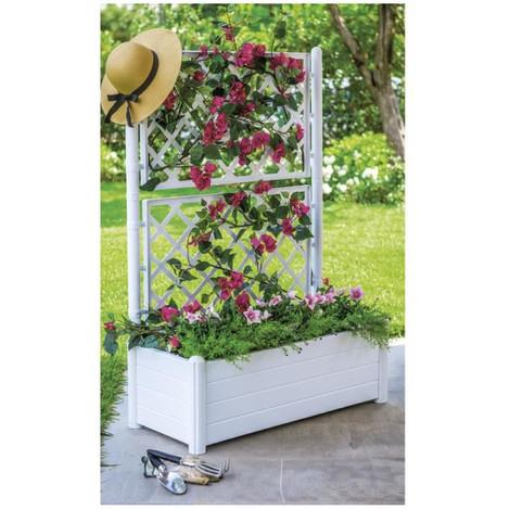 stefanplast bac a fleurs rectangulaire avec treillis. Black Bedroom Furniture Sets. Home Design Ideas