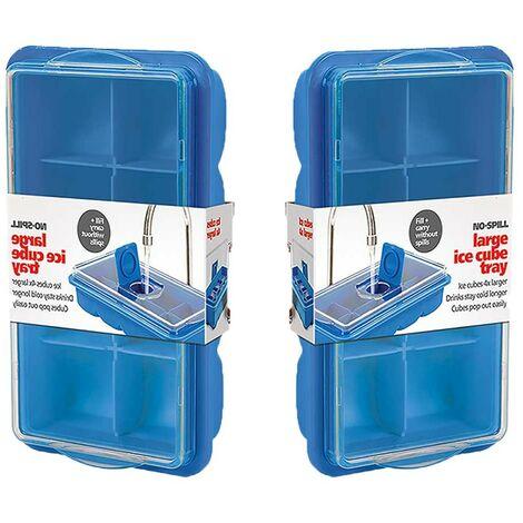 Bac à glaçons bleu avec couvercle - Lot de 2 - Astuceo