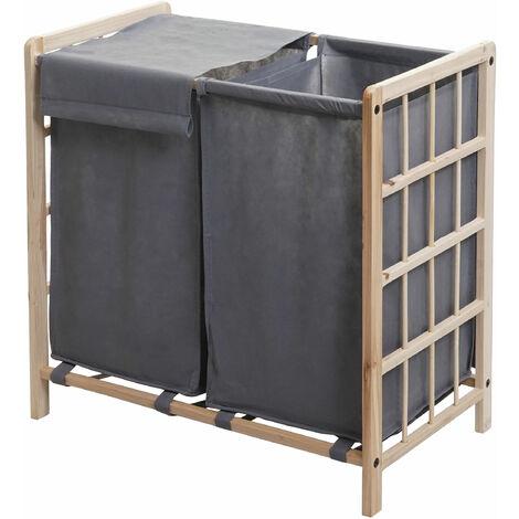 Bac à linge HHG-582, Boîte à linge panier à linge, bois massif 60x60x33cm 68l ~ brun clair, couvercle gris