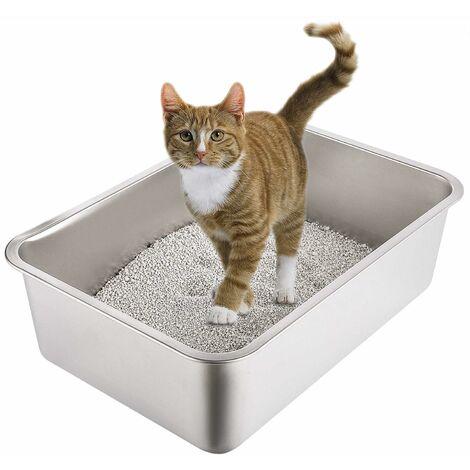 Bac à Litière Chat XL, Bac en Acier Inoxydable Toilette Chat Anti - Odeur pour Chats (60 * 40 * 15cm)