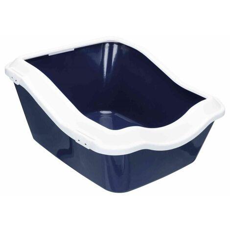 Bac à litière cleany cat, avec rebord - 45 × 29 × 54 cm, bleu foncé/blanc