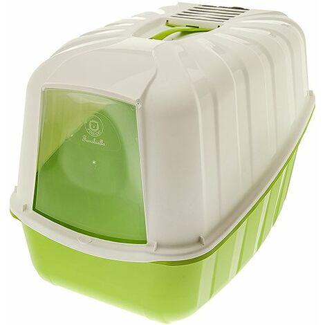 Bac à litière couvert et fermé modèle KOMODA en plastique pour chats avec possibilité de remplacement du filtre