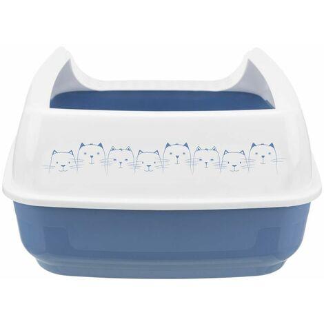 Bac à litière delio, avec rebords - 35 × 20 × 48 cm, bleu/blanc