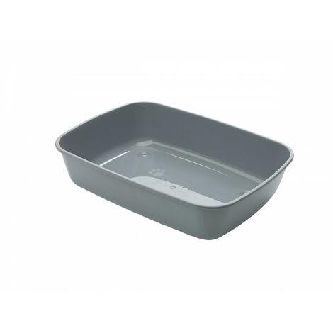 Bac à litière IRIZ 42. pour chat. 42 x 30 x 10 cm . couleur gris anthracite.