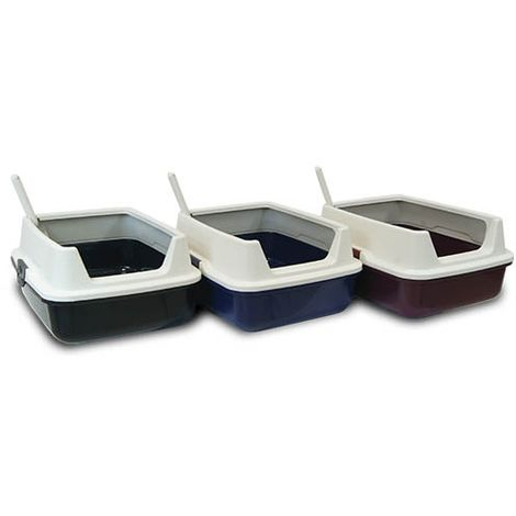 Bac à litière pour chat avec bords très hauts, Dimensions : 48 x 37 x (hauteur) 23 cm
