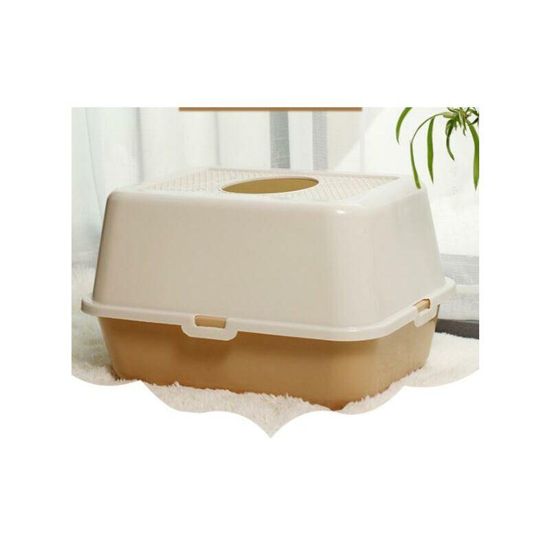 Bac À Litière Résistant Aux Éclaboussures Toilette pour Chat À Entrée par Le Haut Augmentez La Capacité De La Litière pour Chat Grand Bac À Litière