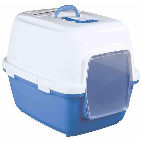 Bac à litière xavi, avec filtre, porte et coupelle - 45 × 48 × 58 cm, bleu/blanc