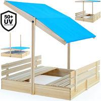 Bac à sable 120x120x120cm avec toit à hauteur réglable hydrofuge bancs intégrés