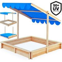 Bac à sable 140x140cm avec toit à hauteur réglable et pivotant pare-soleil