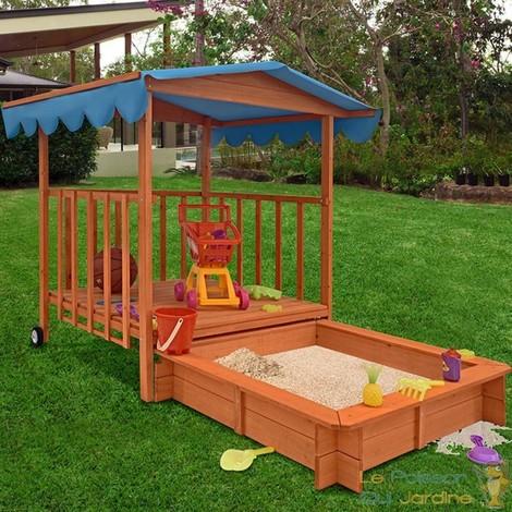 bac sable avec un toit bleu et terrasse en bois de pin. Black Bedroom Furniture Sets. Home Design Ideas