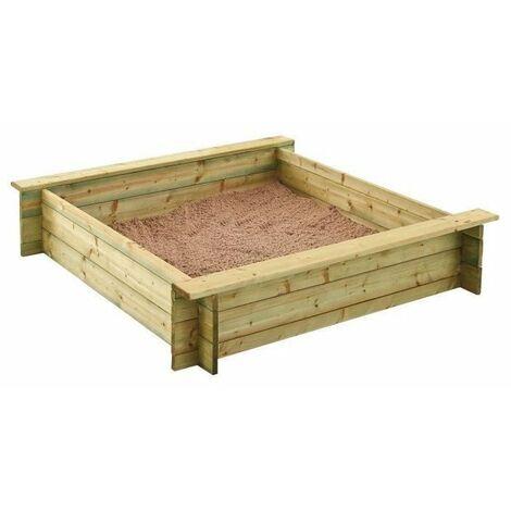 Bac a sable bois - 120 cm avec bâche et tapis - ALIX TRIGANO