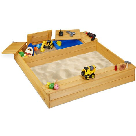 Bac à sable bois, compartiment à eau, caisse, plastique, bancs, 125 x 120 cm, jeu enfants extérieur, nature