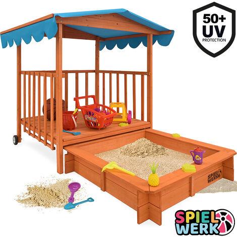 Bac à sable bois massif toit bleu pare soleil 225x130x143cm protection UV50 véranda jeu cabane enfant jardin 2 roues