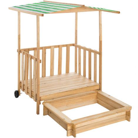 Bac à sable, Cabane de Jardin Enfant avec Toit et Véranda Gretchen - boite à sable, bac à sable bois, table bac à sable