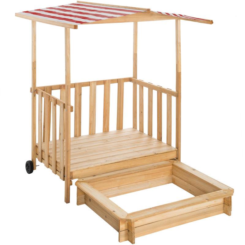 Tectake - Bac à sable 2 en 1 GRETCHEN - boite à sable, bac à sable bois, table bac à sable - rouge