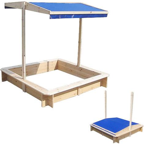 Bac à sable, caisse à sable, maison de jeu, bois avec toit réglable bleu NOUVEAU