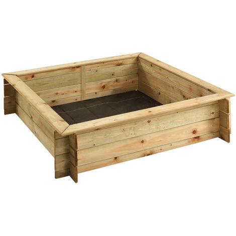 Bac à sable carré avec couvercle | 120 x 120 cm