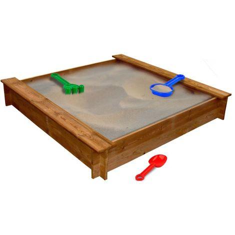 Bac à sable carré en bois | Brun