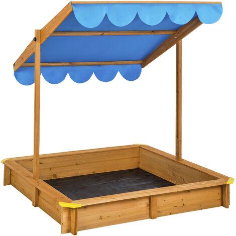 bac sable en bois avec 1 toit et 1 b che 120 cm x 120 cm. Black Bedroom Furniture Sets. Home Design Ideas