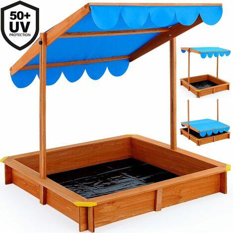 Bac à sable - Deluxe 120x120 cm - avec toit hydrofuge à hauteur réglable pare-soleil bâche