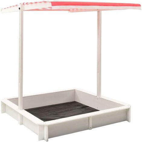 Bac à sable et toit réglable Bois de sapin Blanc et rouge UV50