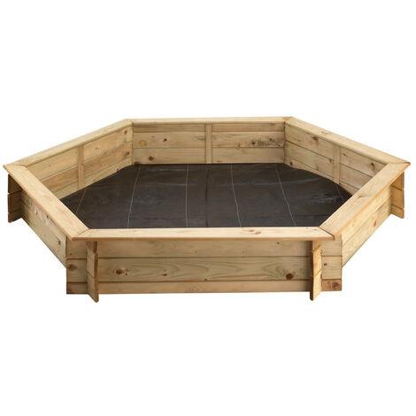 Bac à sable hexagonal avec couvercle | diamètre 180 cm