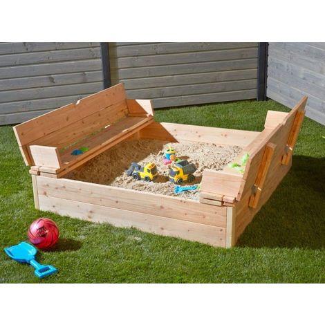 Bac à sable Leonie Type 1 en bois Douglas avec couvercle rabattable