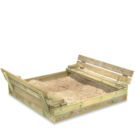 Bac à sable WICKEY Flip 110x125cm, avec couvercle