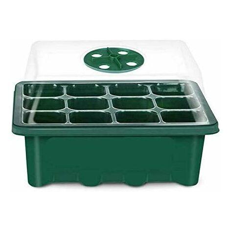 Bac à semis Mini Serre pour semis Plateaux de Culture avec Couvercle Propagateur Jardin pour démarrage et Croissance semence Germination Serre Durables 7.3x2.4x5.7inch