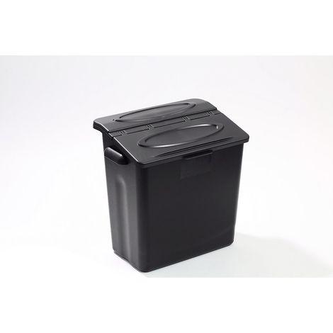 Bac de rangement - avec couvercle - lot de 2 - Coloris: noir