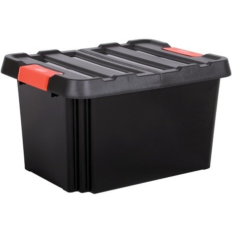 Bac de rangement avec couvercle Stock'R Eda - 85 l - Noir avec poignées rouges