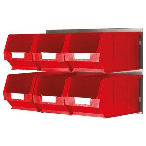 Bac de rangement RS PRO Rouge en PP, 132mm x 150mm x 240mm