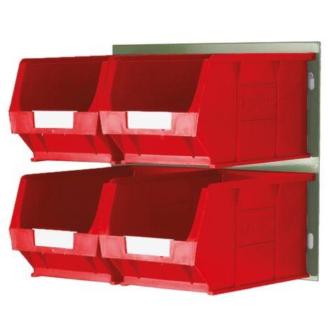 Bac de rangement RS PRO Rouge en PP, 132mm x 205mm x 350mm