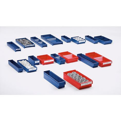 Bac de stockage en polypropylène qualité alimentaire - coloris bleu - L x l x h 300 x 188 x 80 mm, lot de 20 - Coloris: Bleu