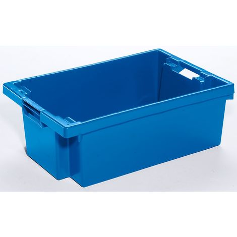 Bac gerbable emboîtable en polyéthylène HD - capacité 32 l - parois et fond pleins, bleu