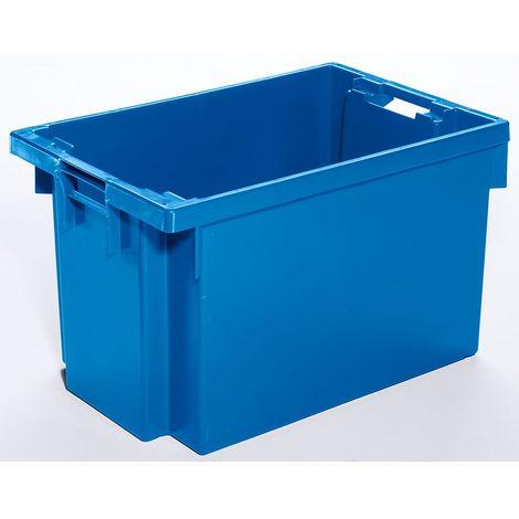 Bac gerbable emboîtable en polyéthylène HD - capacité 60 l - parois et fond pleins, bleu