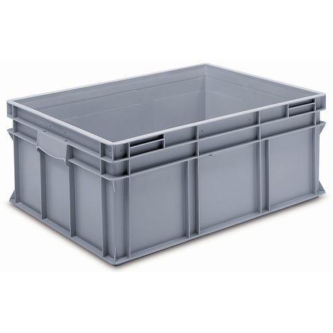 Bac gerbable Europe en PP qualité alimentaire - charge max. 20 kg, gris argenté - capacité 122 l, hauteur extérieure 300