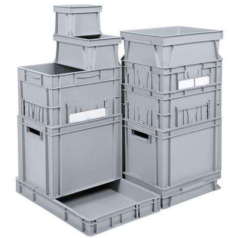 Bac gerbable normes Europe - capacité 123 l, L x l x h 800 x 600 x 300 mm, PE - gris - Gris