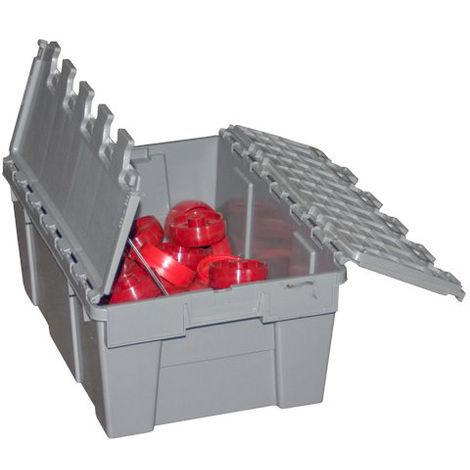 Bac plastique avec couvercle pour chariot porte-bacs 2 bacs