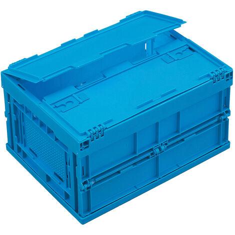 Bac pliant en polypropylène - capacité 22 l, avec couvercle fixé par charnières - coloris bleu - Coloris: Bleu