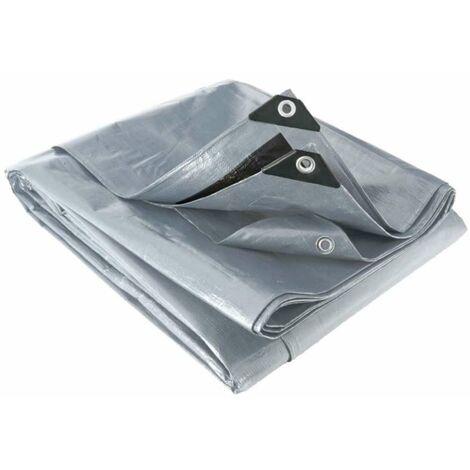 Bâche 200g/m² - bicolore gris/noir - Polyéthylène