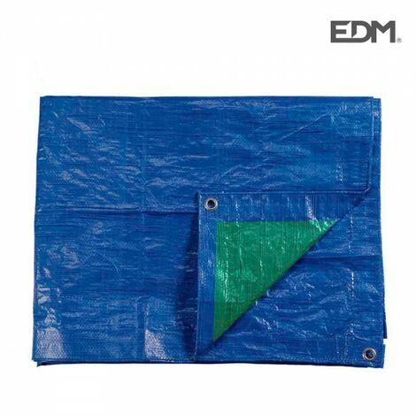 Bâche 2x3mts double face bleu/vert oeillets en métal 90grs/m2 edm