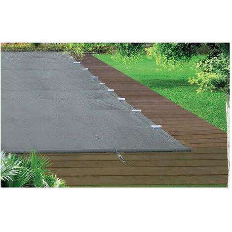 Bâche à barre piscine Perfect - Modèles: Pour piscine 8 x 4 m - Couleur: Gris/beige