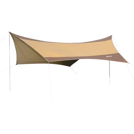 Bâche anti-pluie voile d'ombrage toile de camping 5,6L x 5,5l m polyester haute densité 190T imperméable marron doré
