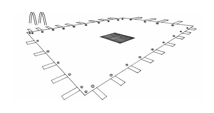Bâche avec filet central pour Piscine Rectangulaire traitée Anti-UV 140gr/m2 | 8x14m