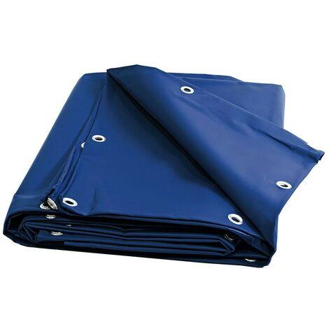 Bache bois 680 g/m² - 8 x 9 m - Bache PVC Bleue - bache imperméable - bache exterieur