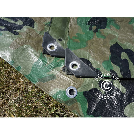 Bâche camouflage Woodland 5x6m, 120g/m²