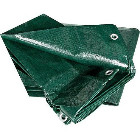 bâche couvre-bois 240g/m² avec bord et oeillets, 1,50 x 6m verte
