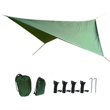 Bâche de camping 3,6 m x 2,9 m housse de pluie bâche portable légère imperméable à l'eau imperméable à la pluie tente volante imperméable au sol protection UV abri adapté à la randonnée