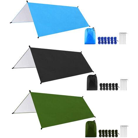 Bache De Camping Impermeable Multifonctionnelle De 9,8 * 9,8 Pieds, Tente D'Ombrage, Bleu